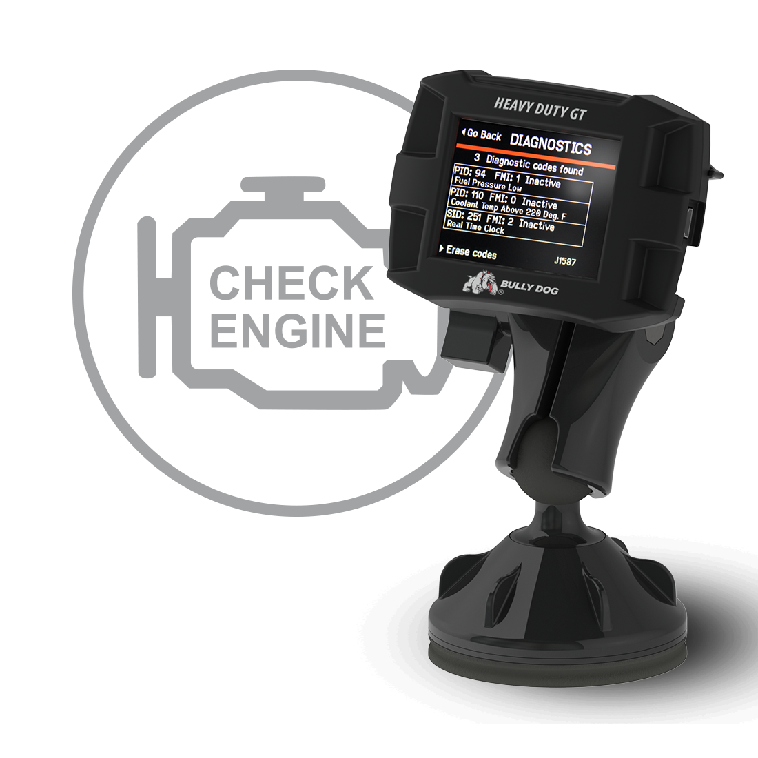 The Bully Dog GT also acts a vehicle diagnostic code reader and can help you diagnose vehicle malfunctions and clear trouble codes. The Bully Dog GT works on over 50 different vehicle applications. New to the Bully Dog GT and the Bully Dog product feature line up .